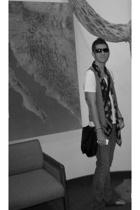 vintage vest - Van Heusen t-shirt - Alexander McQueen scarf - Prada glasses - 7