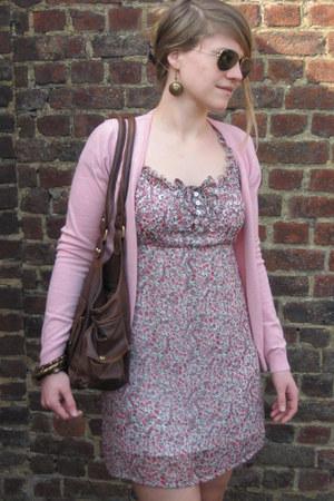 flowers c&a dress - purse - brown elbow pad cardigan - 3Suisses heels