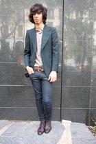 lottavintage jacket - Zara t-shirt - balenciaga belt - H&M jeans - bensherman sh