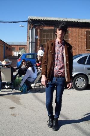 vintage jacket - vintage shirt - balenciaga belt - Topshop jeans - energie boots