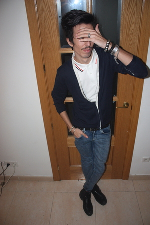 white Fred Perry t-shirt - blue Topman jacket - black balenciaga belt - blue Top