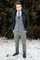 black Zara shoes - charcoal gray H&M coat - white H&M shirt