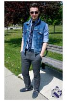 blue diy denim vest Levis vest - periwinkle paisley printed le chateau shirt