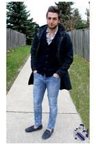 navy H&M jacket - blue H&M jeans - periwinkle H&M shirt