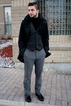 black H&M jacket - black le chateau sweater - charcoal gray le chateau vest