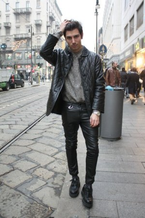 leather pants - creepers Underground London shoes - comme de garcons jacket