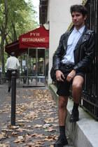 Vintage Leather Jacket jacket - military shoes - military shirt - leivs shorts