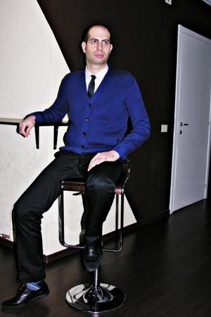 blue Viktor&Rolf cardigan - black Pringle of Scotland pants - white Raf Simons s