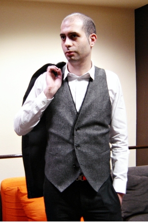 black Costume National suit - gray Costume National vest - white Raf Simon shirt