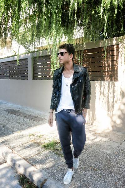 leather jacket Pepe Jeans jacket - white tee acne t-shirt