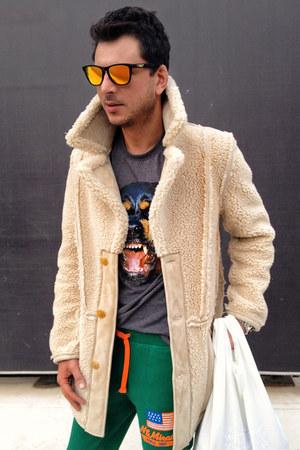 charcoal gray Givenchy t-shirt - ivory maison martin margiela X H&M coat
