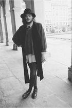 black vintage hat - black vintage scarf - gray vintage jumper - yellow vintage s