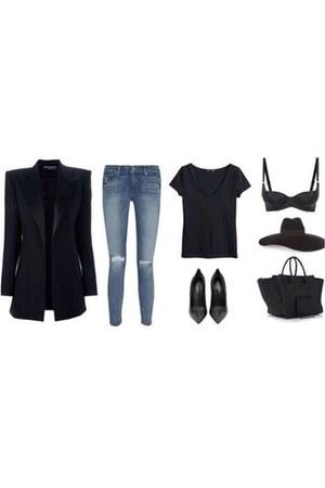 blue jeans - black hat - black blazer - black Christian Louboutin heels
