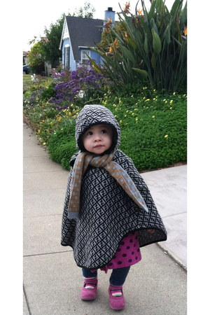 heather gray wool Fendi cape - leather Kickers shoes - wool One kid sweater