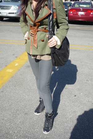 green Rock & Republic blazer - gray H&M leggings - green da nang shirt - black