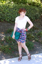 white JCrew shirt - Modern Amusement skirt - teal - brown Boutique 9 shoes - pur