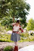 Forever 21 cardigan - vintage belt - gray H&M skirt - H&M blouse - Urban Outfitt