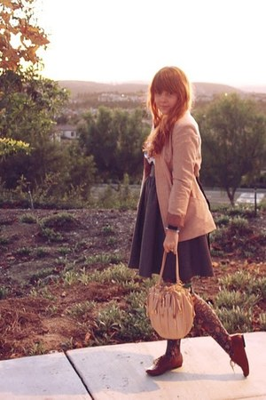 peach Zara blazer - navy JCrew blouse - gray H&M skirt - Urban Outfitters tights