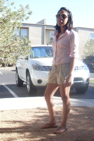 light pink pink button up Zara blouse - linen tie up Be Bop shorts