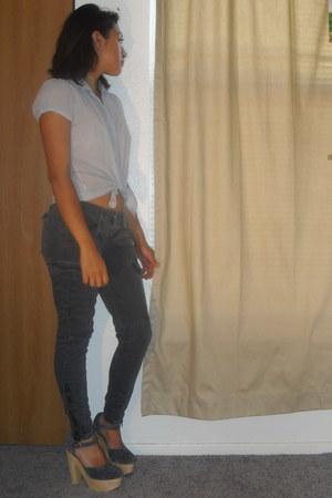 chiffon banana republic blouse - TJ Maxx pants - Sabine heels