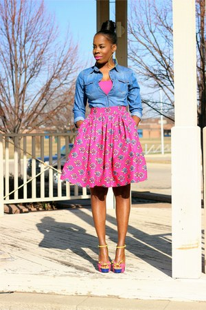 hot pink a line midi skirt