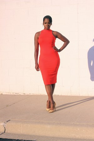 camel pointy toed shoes - red bodycon midi dress