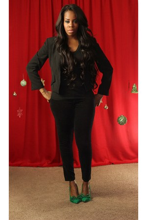 green shoes - black velvet front jeans - black blazer - black v neck top