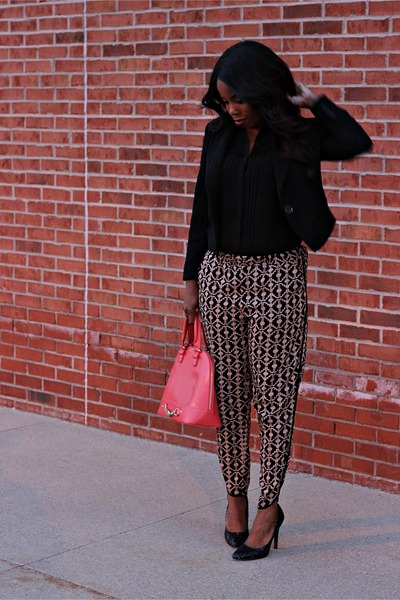 black blazer - coral gramercy bag - black blouse - bronze patterned pants