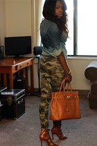 army green fatigue pants - navy jeans - tawny law bag - tawny strappy sandals