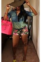 hot pink bag - hot pink floral shorts - chartreuse wedges - blue top