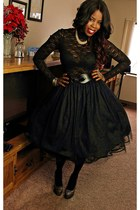 gold shoes - black blazer - black lace top - black tutu skirt