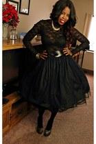gold shoes - black blazer - black lace top - black tutu skirt