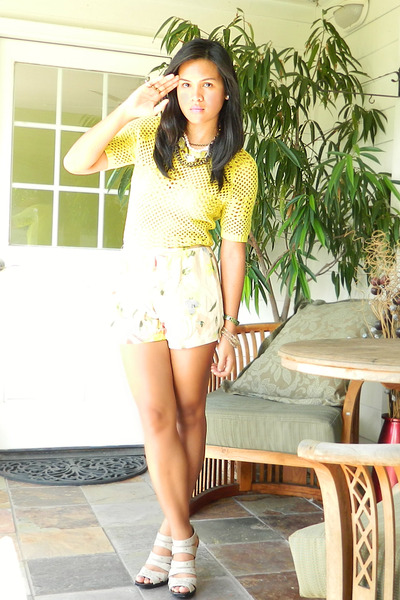 H&M shorts - crochet f21 top - nude Michael Kors heels