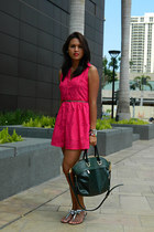 Charles & Keith bag - fuchsia Betty dress - metallic Zara flats