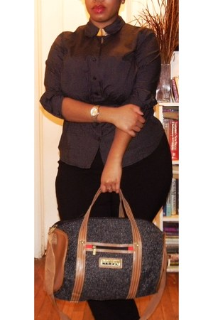 black tweed Oscar De La Renta Studio bag - black thrifted shirt