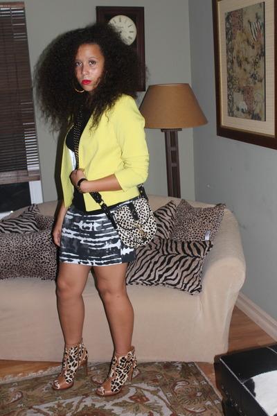 yellow H&M Trend blazer - leopard BCBG boots - dalmation Rebecca Minkoff bag