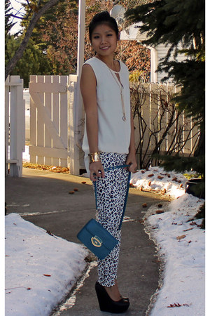 Forever 21 top - Forever 21 wedges - H&M pants