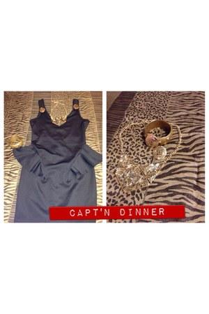 black peplum dress Forever 21 dress - mustard Charlotte Russe accessories