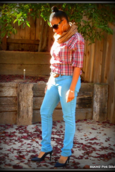 Oneil shirt - skinny jeans unknown brand jeans - cotton DIY scarf