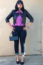 amethyst blouse - navy BDG jeans - black Forever 21 jacket - black leather bag