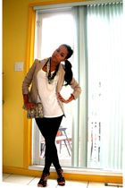black leggings - beige blazer - white purse - black shoes - white top - white ac