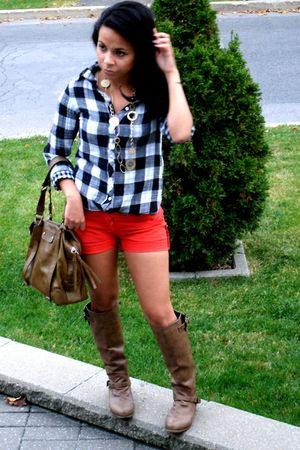 red shorts - brown boots - black shirt - beige accessories - brown bag