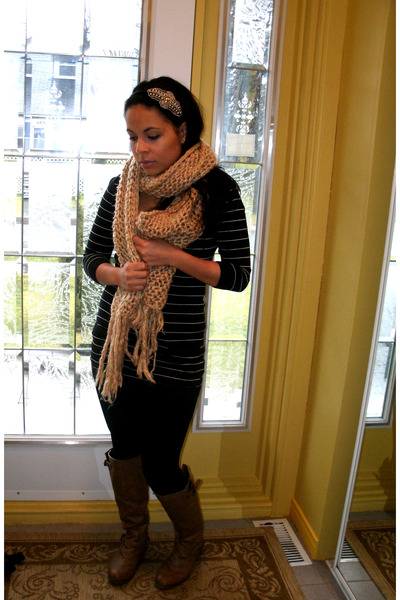 camel boots - black dress - beige scarf - black stockings - silver accessories