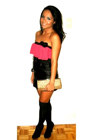 pink top - black skirt - black shoes - beige purse - black socks