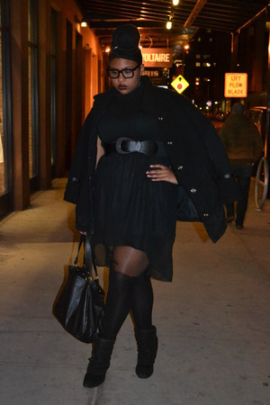 black booties torrid boots - black mini trench Catherines coat - black shirt