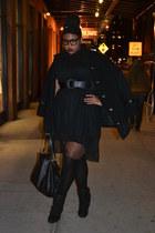 black booties torrid boots - black mini trench Catherines coat - black shirt