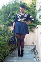 black sweater - black Tahari skirt - black Shoedazzle wedges