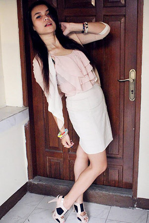 light pink blouse - light pink top - white Forever21 skirt - light pink Charles