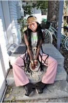 black diy fringe vest - black gee wa wa boots - tawny leopard head scarf