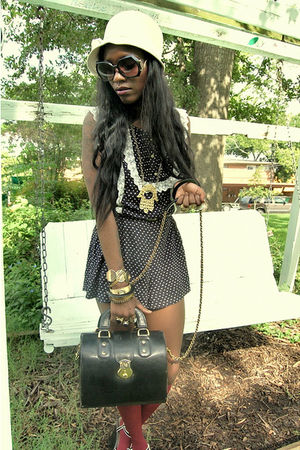 gold accessories - black shoes - white hat - black bag - black modcloth shorts